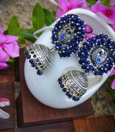Navy Blue Pearl Studded Ear Studs And Pearl Drop German Silver Jhumka