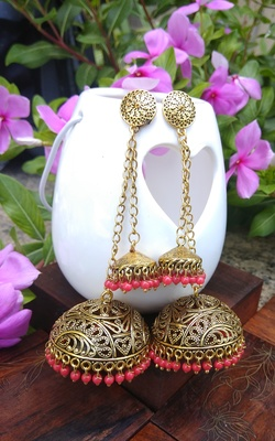 Golden Small & Large Jhumka Combo With Red Pearl Hangings