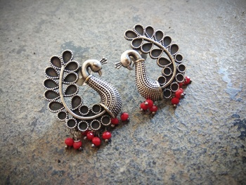 Peacock Shaped German Silver Ear Studs With Red Pearl