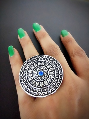 Engraved German Silver Finger Ring With Blue Stone