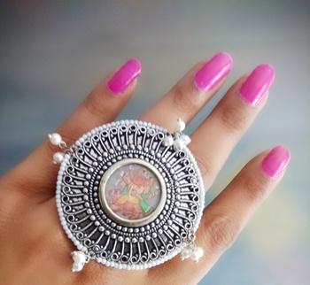 Hand Made Ganpati Centre Pic Ring With Pearl Drops Around Border