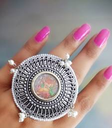 Hand Made Ganpati Centre Pic Ring With Pearl Drops Around Border