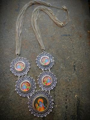 Radhakrishna Photoframe Handmade German Silver Necklace