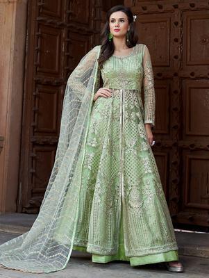 Green embroidered net salwar