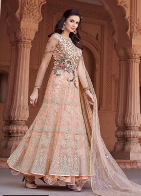 Baby-pink embroidered silk salwar