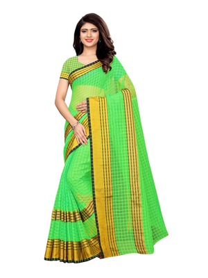 Green woven chanderi saree with blouse