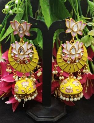 Latest Designer Yellow Pink Meenakari Kundan Pearl Jhumki Earrings