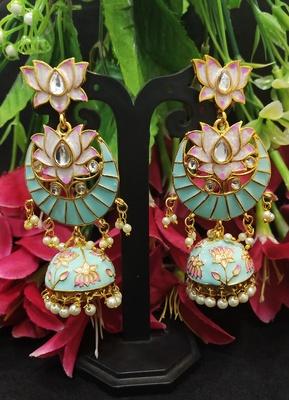 Latest Designer Green Pink Meenakari Kundan Pearl Jhumki Earrings