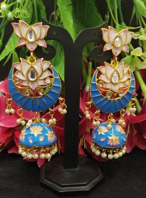 Latest Designer Blue Pink Meenakari Kundan Pearl Jhumki Earrings