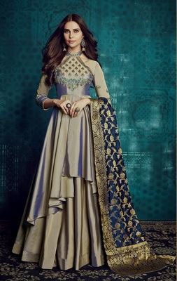 Grey resham embroidery taffeta anarakali gown suit