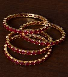 Ruby Embellished Two Pairs of Designer Bangles