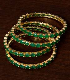 Emerald Embellished Two Pairs of Designer Bangles