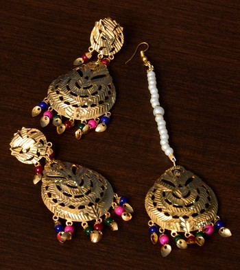 Multi-colored Beaded Leafy Traditional Dangler Earrings cum Maang Tikka