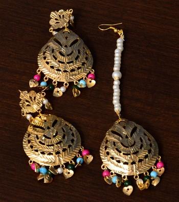 Multi-colored Beaded Leafy Bollywood Dangler Earrings cum Maang Tikka