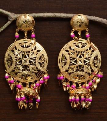Traditional Punjabi Bollywood Styles Leafy Danglers cum Tikka 217MT242