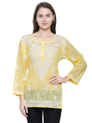 Yellow embroidered brasso chiffon-tops