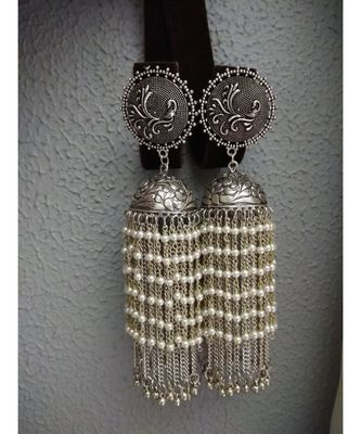 German Silver Hand Made Dangler Jhumka With White Pearl Hangings
