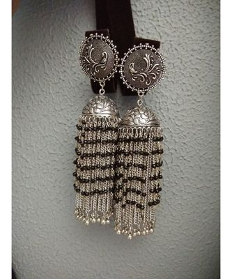 German Silver Hand Made Dangler Jhumka With Black Pearl Hangings