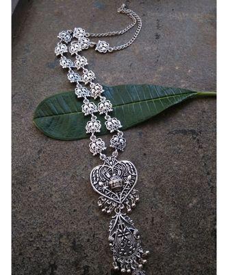 German Silver - Long Necklace In Tribal Pattern