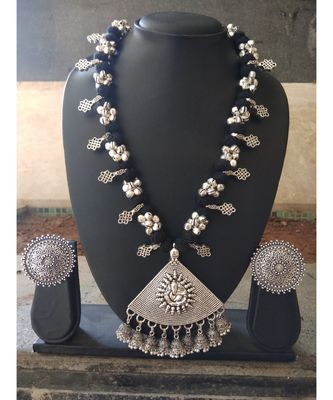 Ganpati Pendant Ghunghroo Studded Black Tassle Necklace