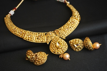 gold tone white stone studded wedding hoker necklace set