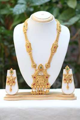 Goddess lakhmi gold tone long haram necklace set