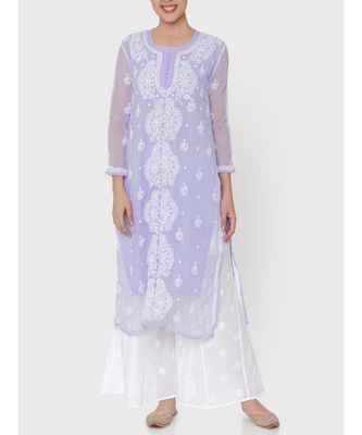 Lavender chikankari kurti with white thread work