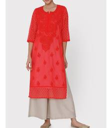 RED CHIKANKARI  KURTI WITH HAKOBA SLEEVES