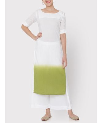 White Cotton ombre green Kurti with palazzo