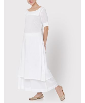 Cotton white A-line suit with palazzo
