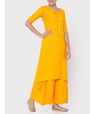 Yellow rayon collared full suit with palazzo