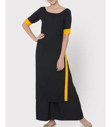 Black rayon suit with yellow borders