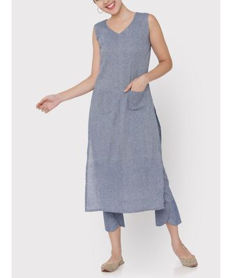 Linen blue pockets sleeveless Kurti with trousers