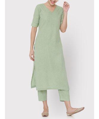 Linen green mint full suit