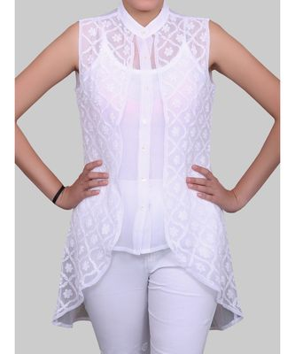 WHITE GEORGETTE SHORT CHIKANKARI LOW HIGH HEM TOP