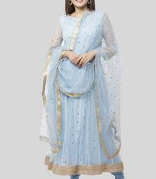 Blush Blue Net Sequenced Anarkali with Leggings and Sequenced Dupatta