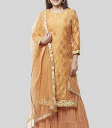 Peachy Orange Banarsi Georgette Kurti with Gathered Sharara and Dupatta