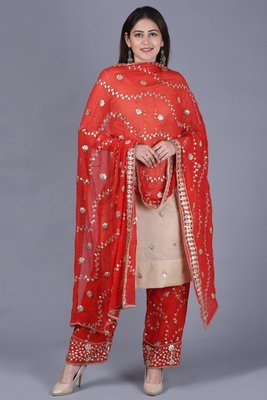 Gold Gotta Straight Kurti with Red Gotta Embroidered Palazzo and Dupatta