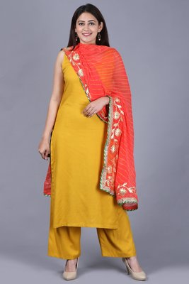 Mustard Fire Straight Rayon Kurti with Straight Palazzo and Dupatta