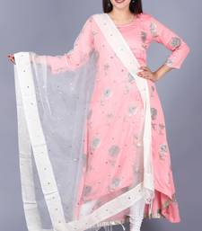 Flamingo Pink Asymmetrical Side Slit Kurti with Churidaar and Dupatta