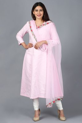Blush Pink Kali Kurti with Off-White Churidaar and Blush Pink Chiffon Dupatta