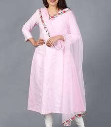 Blush Pink Kali Kurti with Off-White Churidaar and Blush Pink Chiffon Dupatta