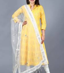 Yellow Foil Print Mughal Kurti with Off-White Churidaar and Mirror Organza Dupatta