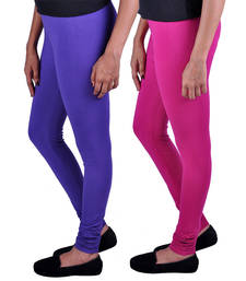 Buy Combo Pack of 2 Cotton , Lycra Leggings- Magenta & Purple leggings-combo online