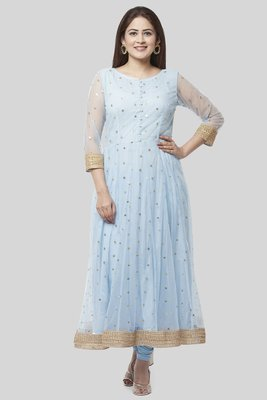 Blush Blue Net Sequenced Anarkali with Leggings