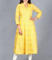 Yellow Foil Print Mughal Kurti with Off-White Churidaar