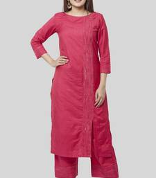 Royal Pink Side Slit Straight Kurti with Straight Palazzo