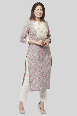 Gray Pink Floral Gotta Straight Kurti with Straight Pants