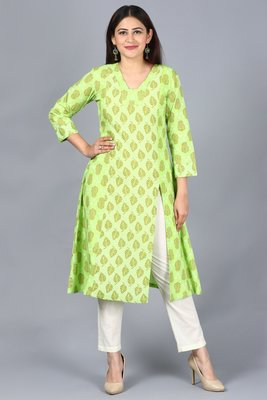 Equally Green Printed A-Line Side Slit Kurti with Off-White Straight Pants