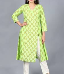 6fe6f289bd Equally Green Printed A-Line Side Slit Kurti with Off-White Straight Pants